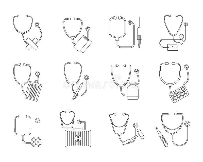 Icone messe, stile dello stetoscopio di Phonendoscope del profilo illustrazione di stock