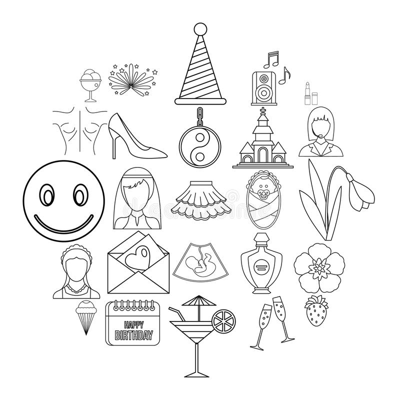 Icone messe, stile di alti alcoolici del profilo royalty illustrazione gratis