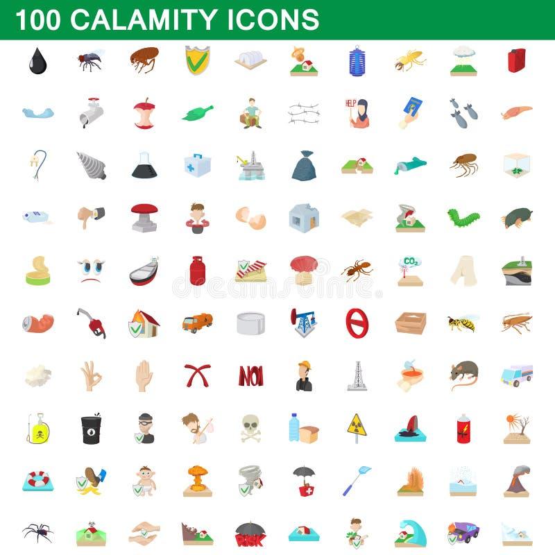 100 icone messe, stile di calamità del fumetto illustrazione vettoriale
