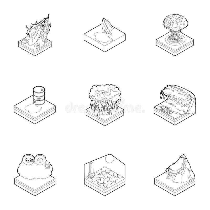 Icone messe, stile di catastrofe naturale del profilo royalty illustrazione gratis