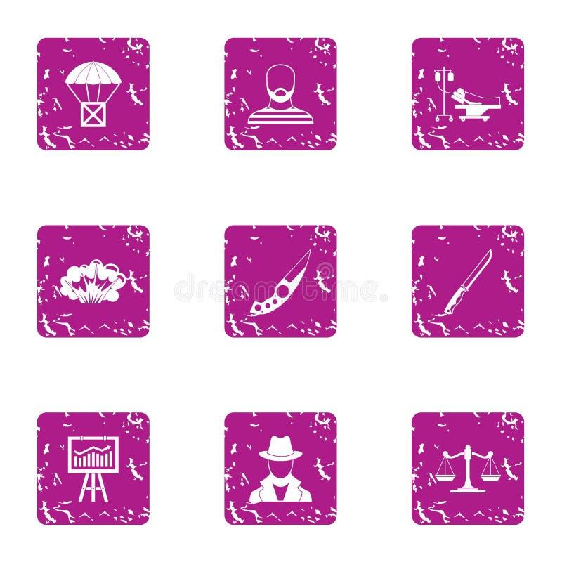 Icone messe, stile di delinquenza di lerciume royalty illustrazione gratis