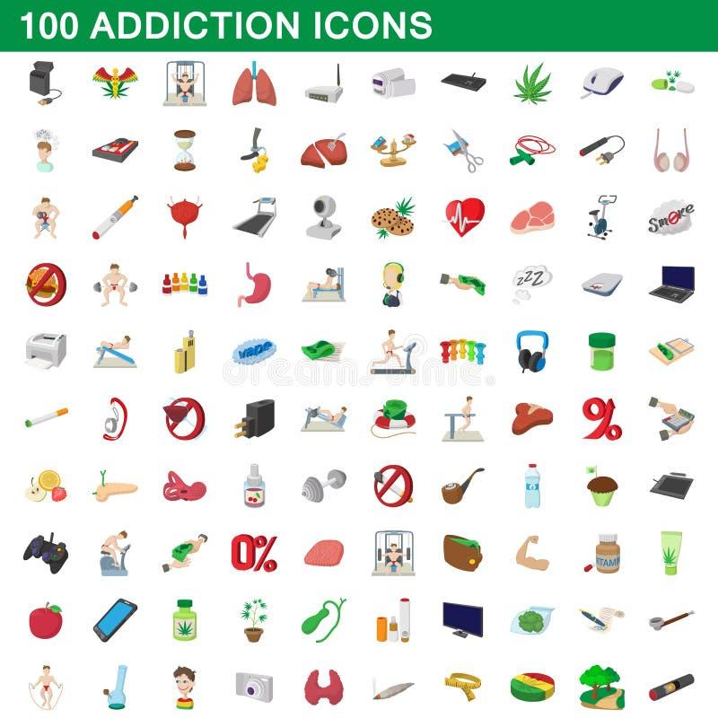 100 icone messe, stile di dipendenza del fumetto royalty illustrazione gratis