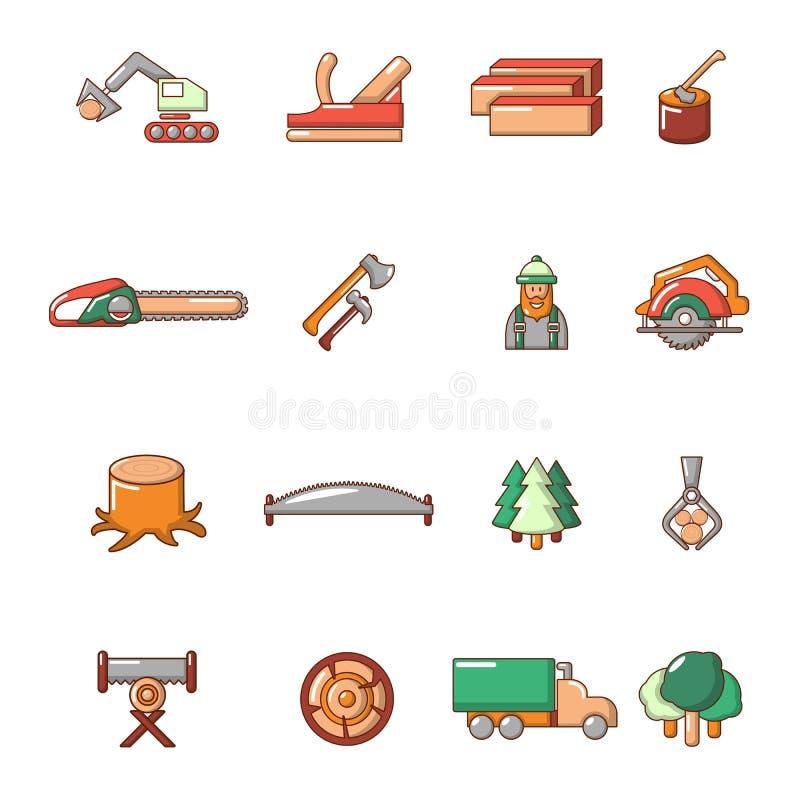 Icone messe, stile di industria del legname del fumetto illustrazione vettoriale