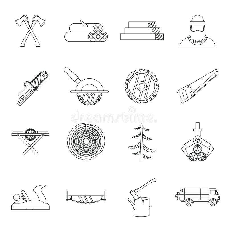 Icone messe, stile di industria del legname del profilo royalty illustrazione gratis
