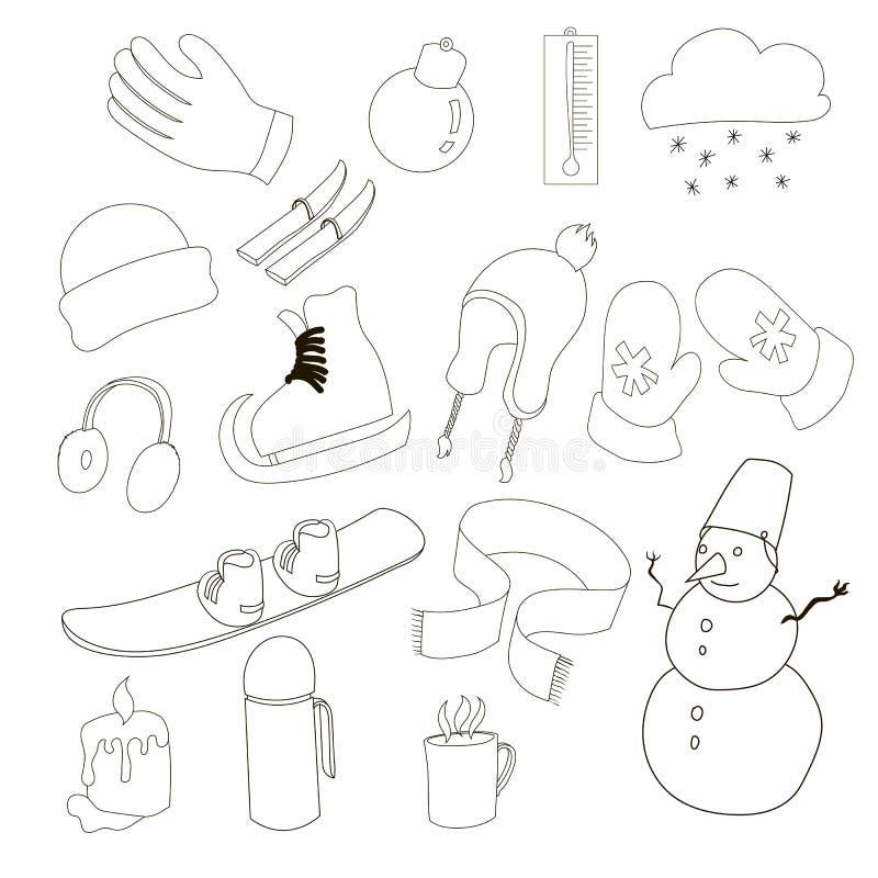 Icone messe, stile di inverno del profilo illustrazione di stock