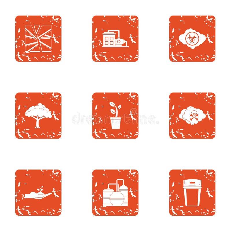 Icone messe, stile di montaggio di lerciume illustrazione di stock