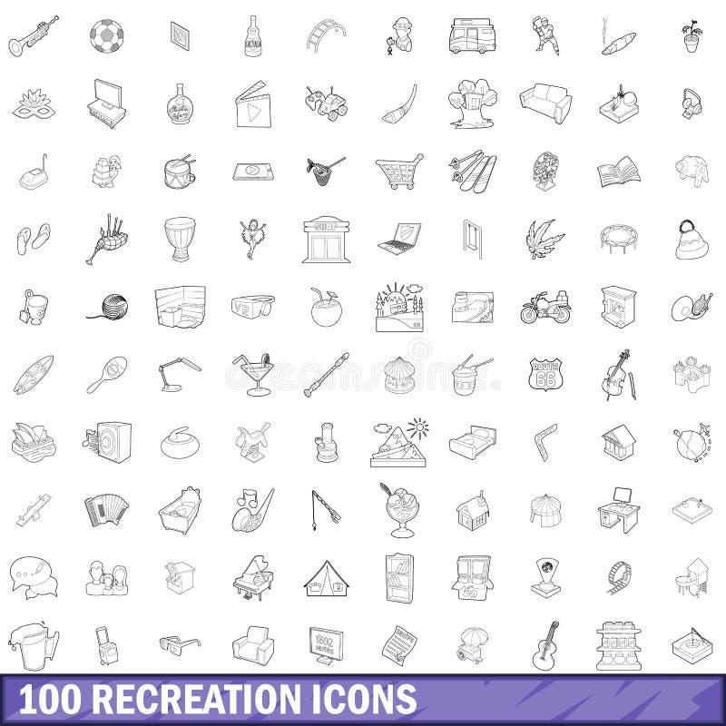 100 icone messe, stile di ricreazione del profilo royalty illustrazione gratis