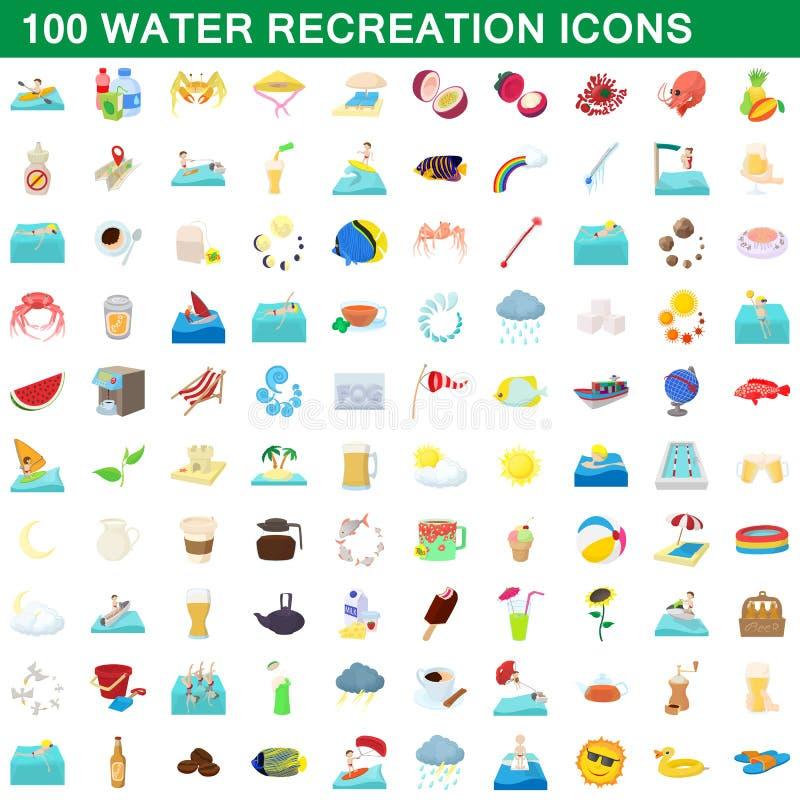 100 icone messe, stile di ricreazione dell'acqua del fumetto illustrazione vettoriale