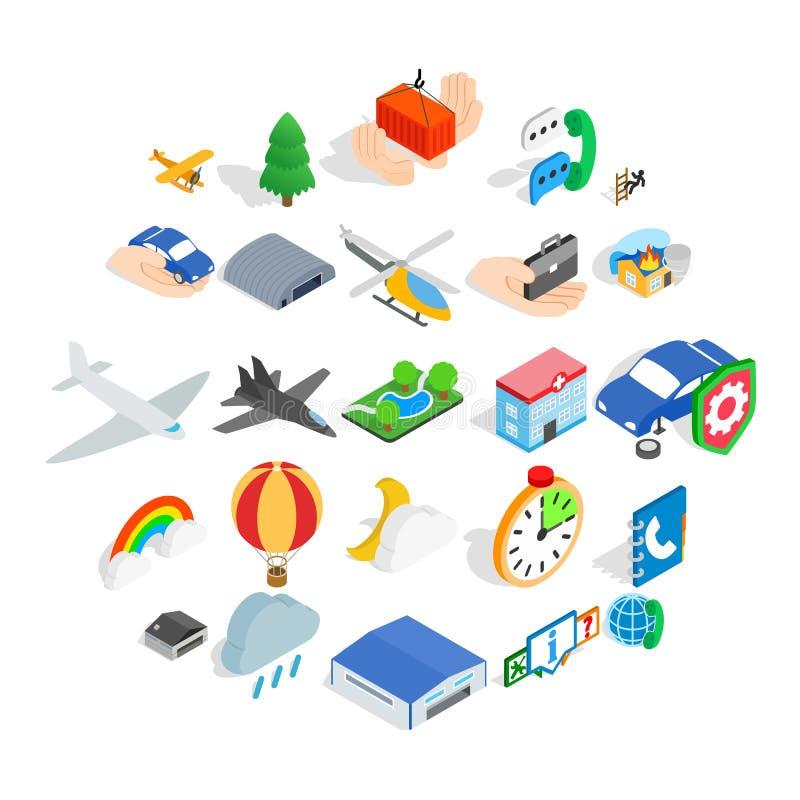 Icone messe, stile isometrico di aviazione illustrazione vettoriale