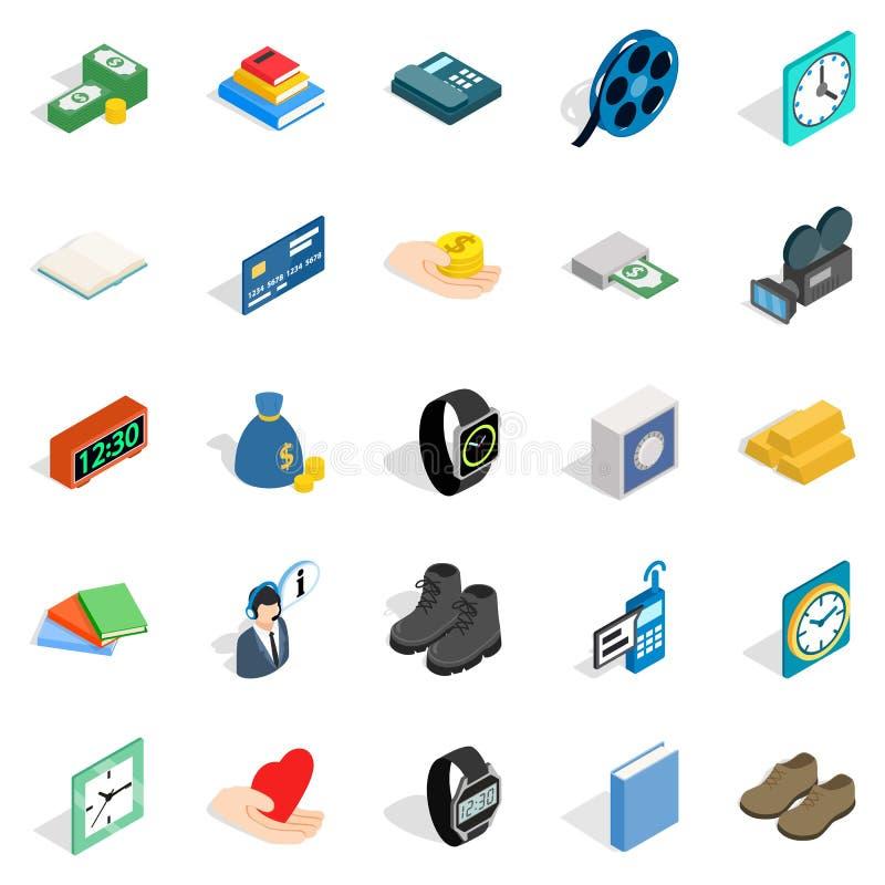 Icone messe, stile isometrico di impegno illustrazione di stock