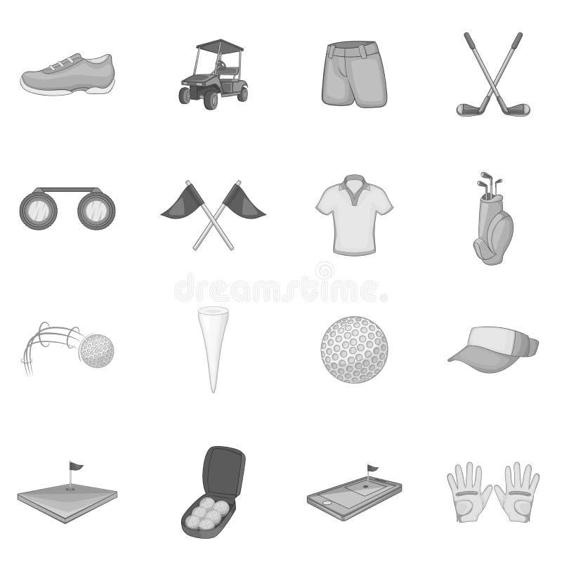 Icone messe, stile monocromatico grigio di golf illustrazione di stock