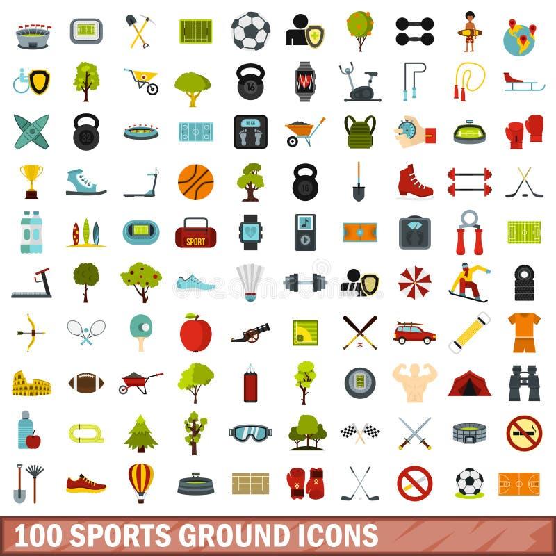 100 icone messe, stile piano del campo sportivo illustrazione vettoriale