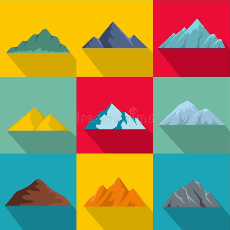 Icone messe, stile piano dell'alta montagna illustrazione vettoriale