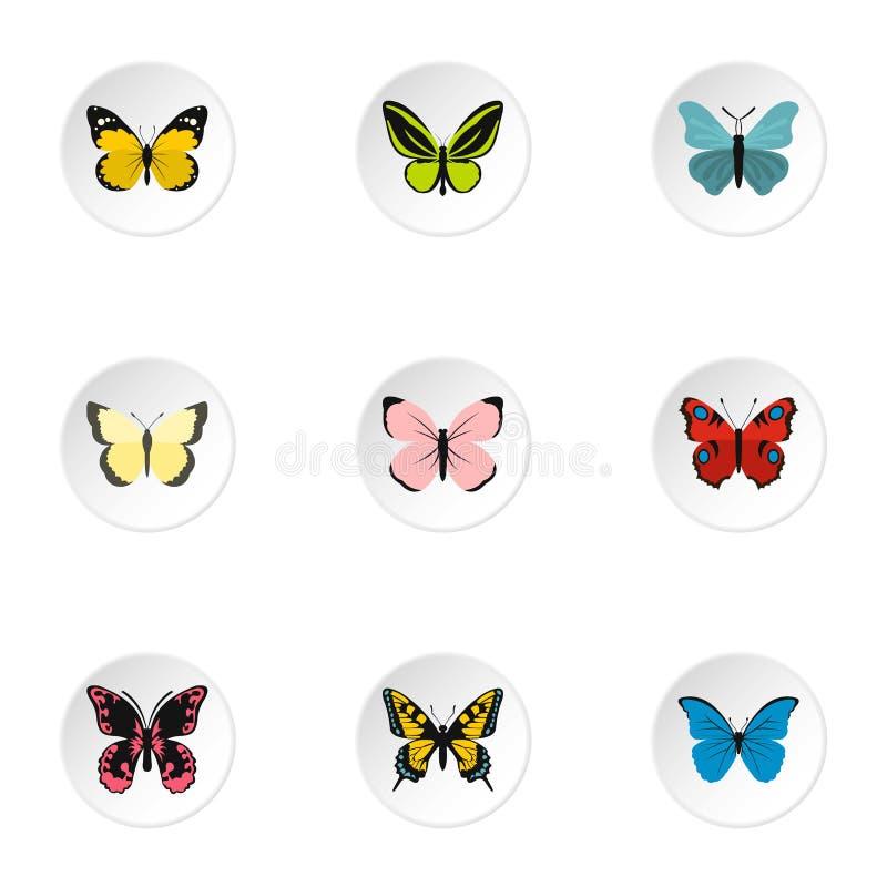 Icone messe, stile piano della farfalla di volo illustrazione vettoriale