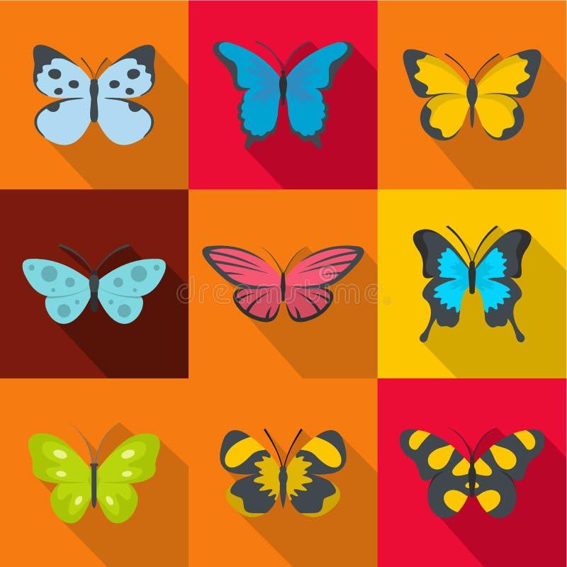 Icone messe, stile piano della farfalla della foresta royalty illustrazione gratis