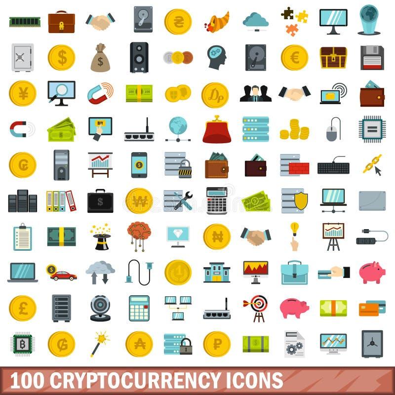 100 icone messe, stile piano di cryptocurrency royalty illustrazione gratis