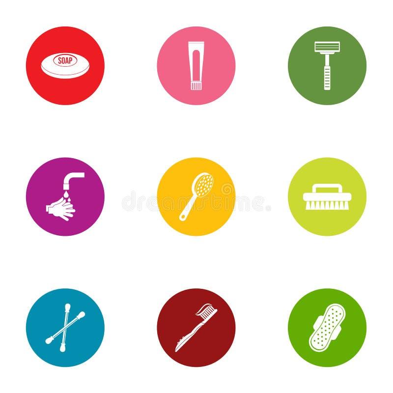Icone messe, stile piano di igiene personale illustrazione di stock