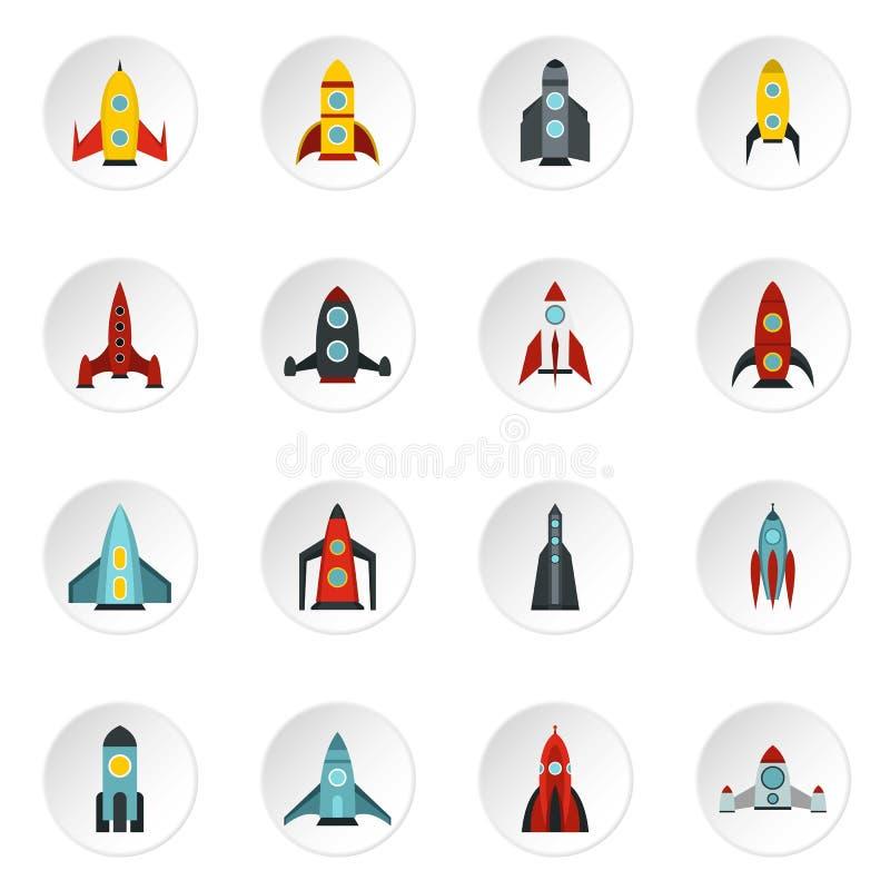 Icone messe, stile piano di Rocket illustrazione vettoriale
