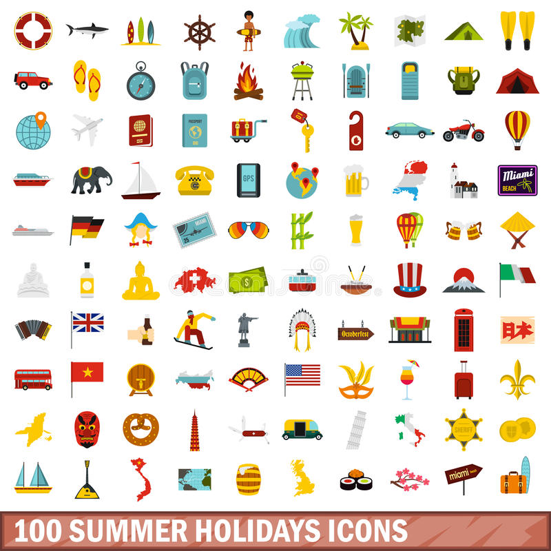 100 icone messe, stile piano di vacanze estive illustrazione di stock