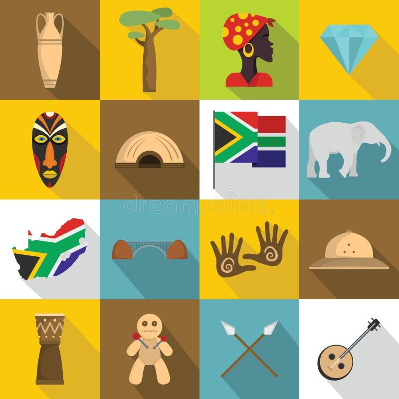 Icone messe, stile piano di viaggio del Sudafrica illustrazione vettoriale