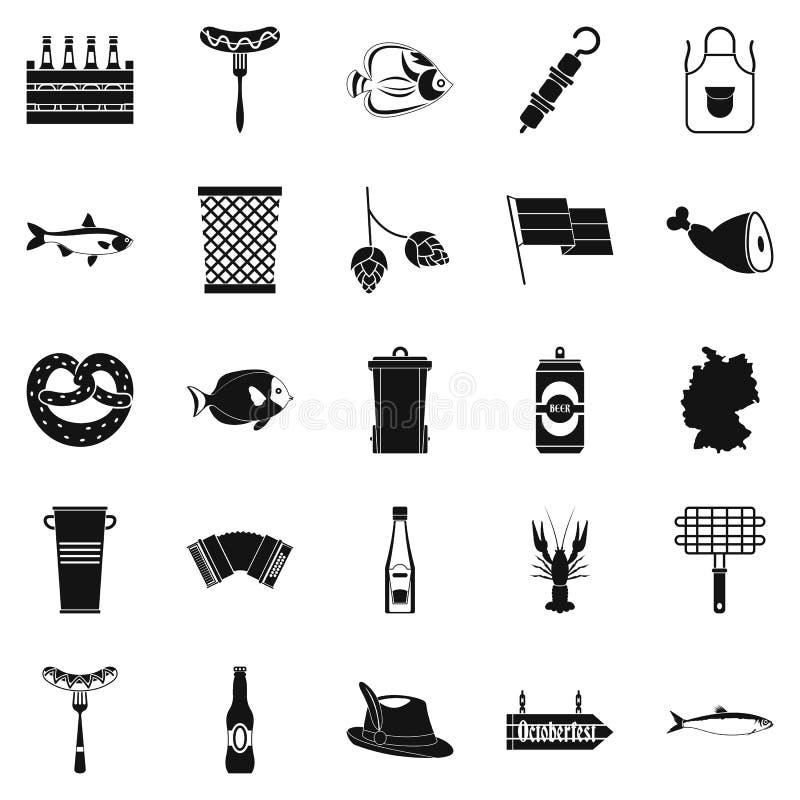 Icone messe, stile semplice del barbecue royalty illustrazione gratis