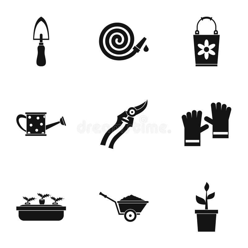Icone messe, stile semplice del giardino illustrazione vettoriale