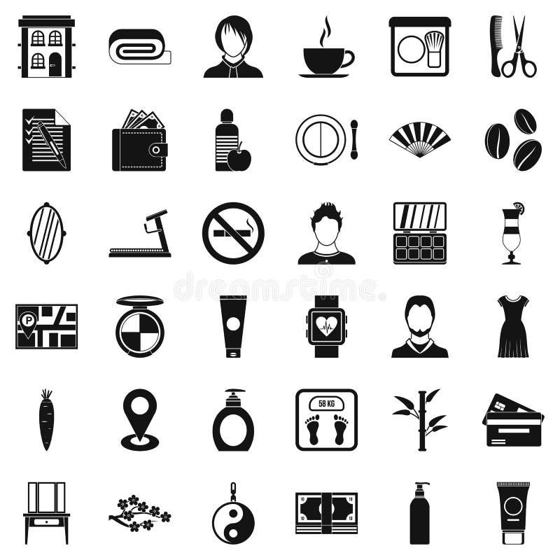 Icone messe, stile semplice del salone di lavoro di parrucchiere illustrazione di stock