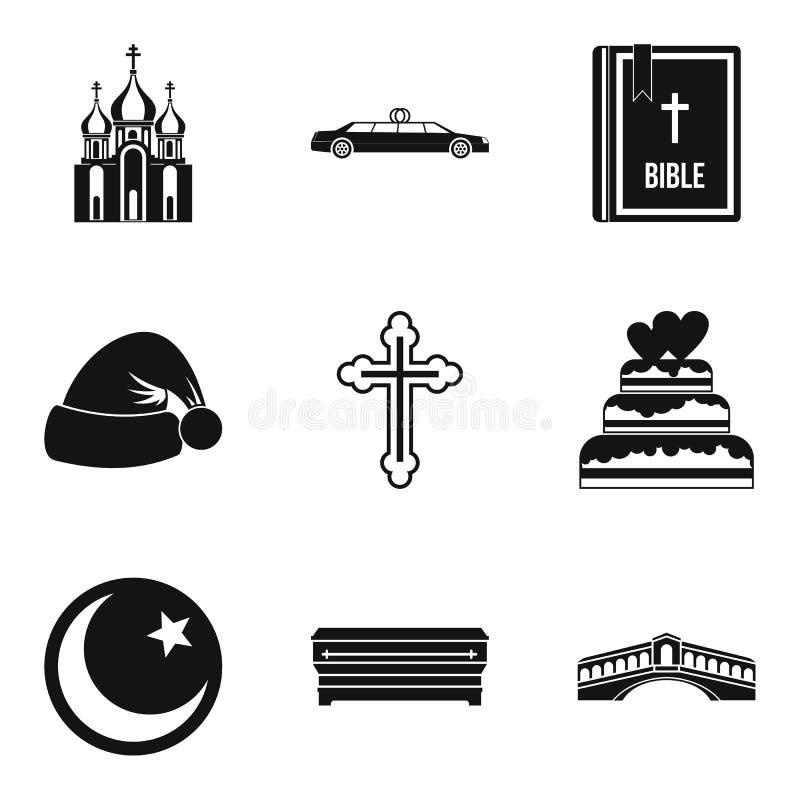Icone messe, stile semplice del segno di religione illustrazione di stock