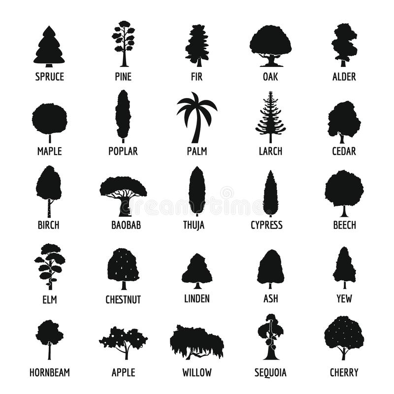 Icone messe, stile semplice dell'albero illustrazione di stock