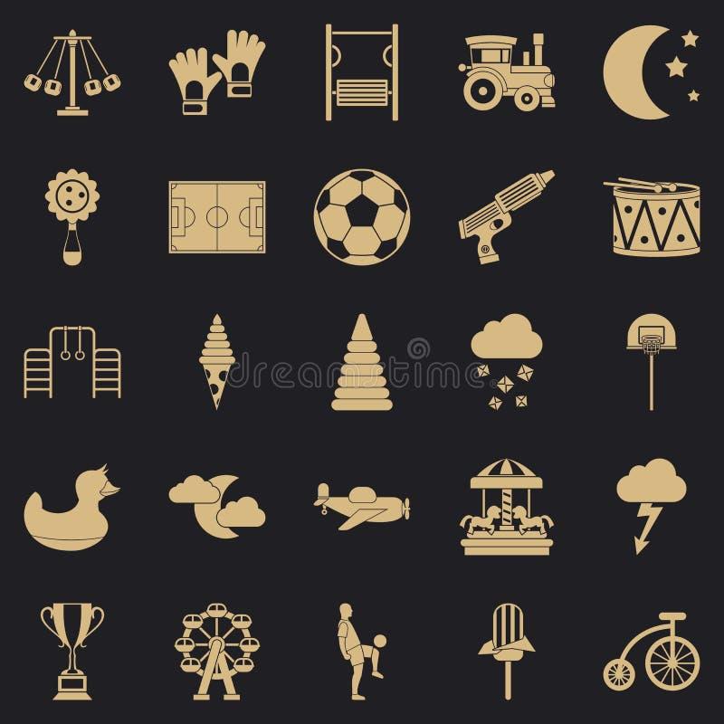 Icone messe, stile semplice della corte illustrazione di stock