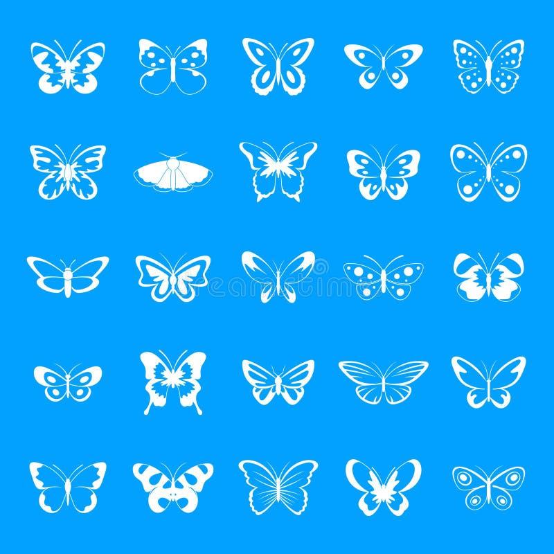 Icone messe, stile semplice della farfalla illustrazione di stock