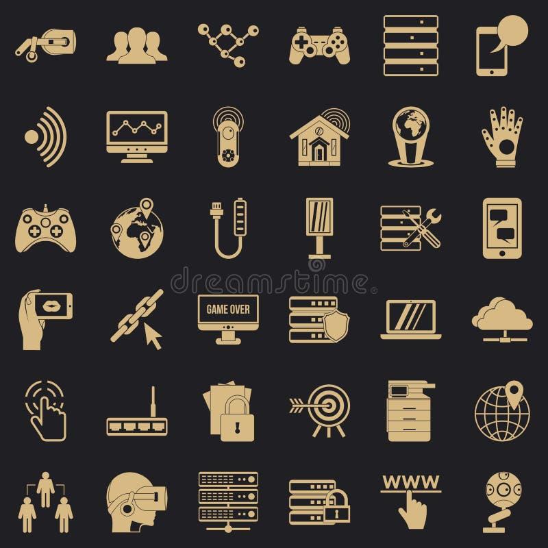 Icone messe, stile semplice della societ? della TV illustrazione di stock