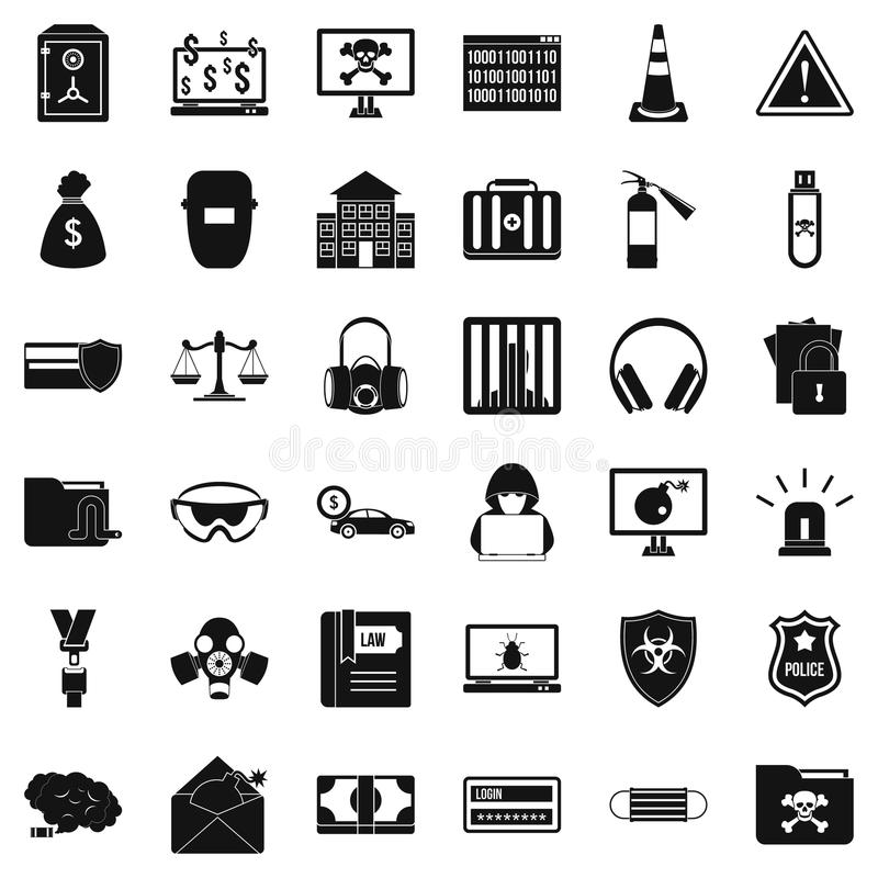 Icone messe, stile semplice di crimine informatico illustrazione di stock