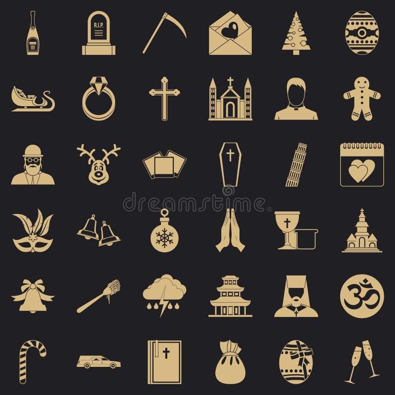 Icone messe, stile semplice di religione royalty illustrazione gratis