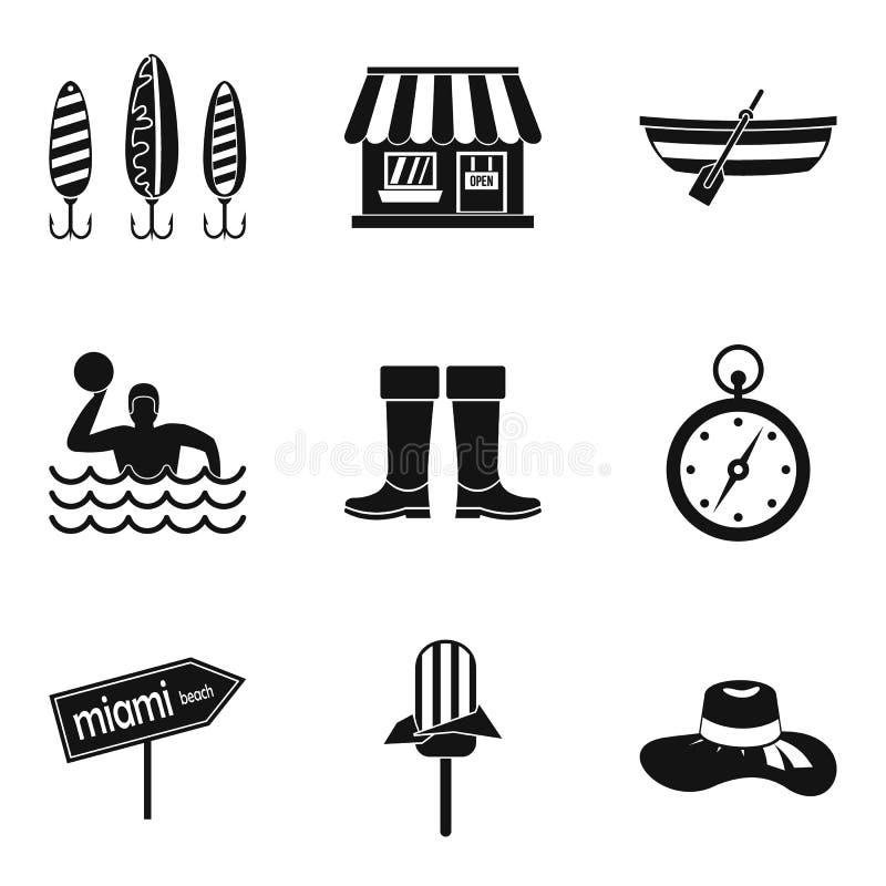 Icone messe, stile semplice di trattamento delle acque reflue illustrazione di stock