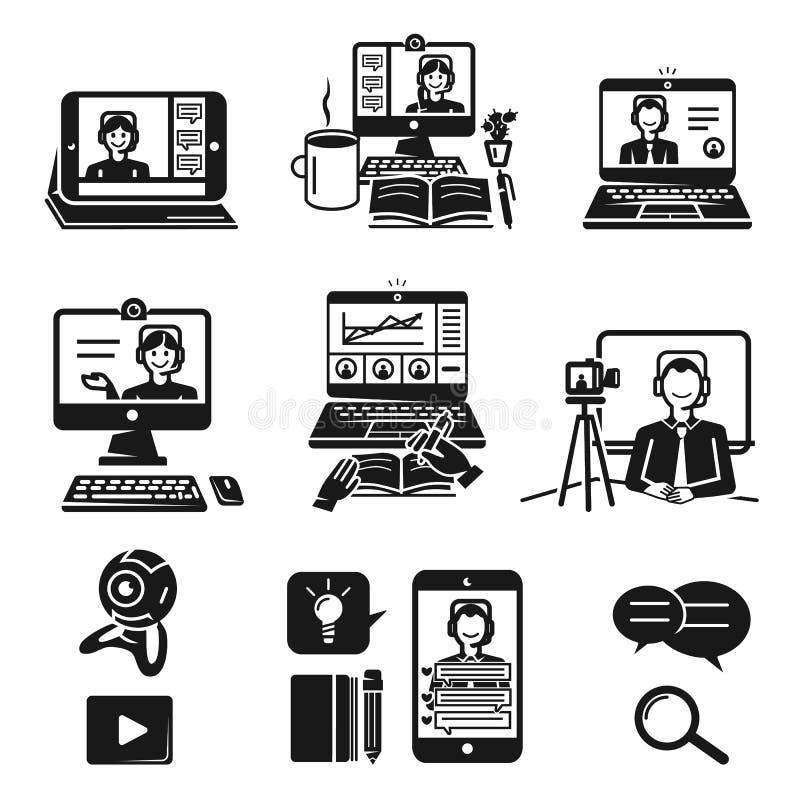 Icone messe, stile semplice di Webinar illustrazione di stock