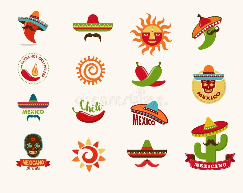 Icone messicane dell'alimento, elementi del menu per il ristorante royalty illustrazione gratis