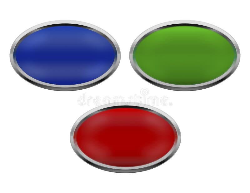 Icone metalliche ovali illustrazione vettoriale
