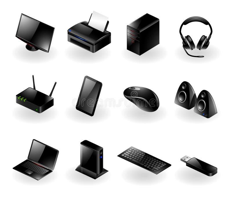 Icone Mixed dell'hardware di calcolatore illustrazione di stock