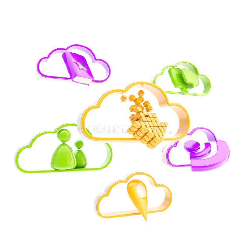 Icone mobili di applicazione di tecnologia della nube royalty illustrazione gratis