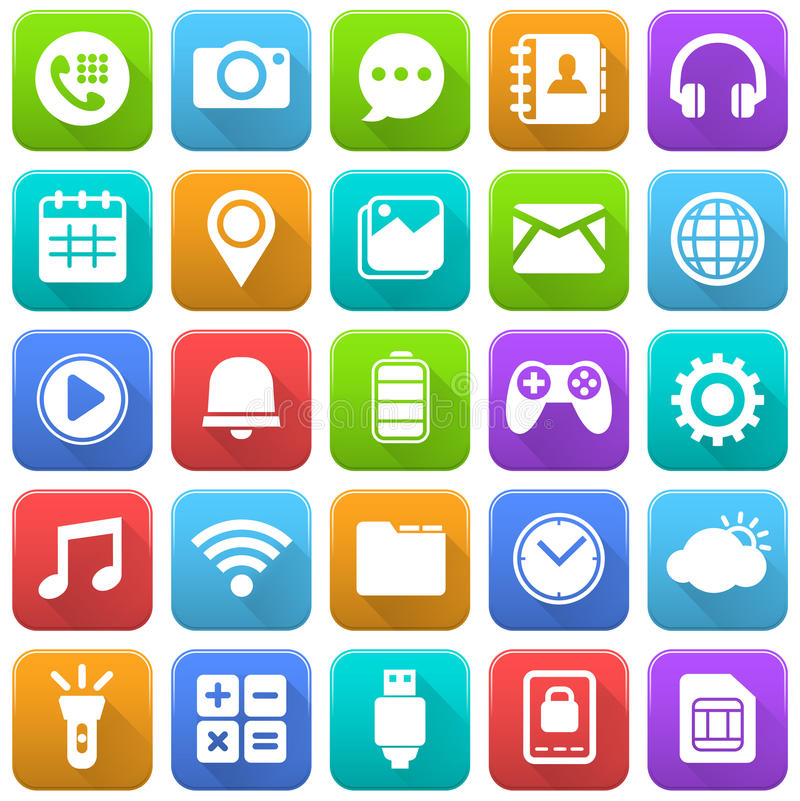 Icone mobili, media sociali, applicazione mobile, Internet illustrazione di stock