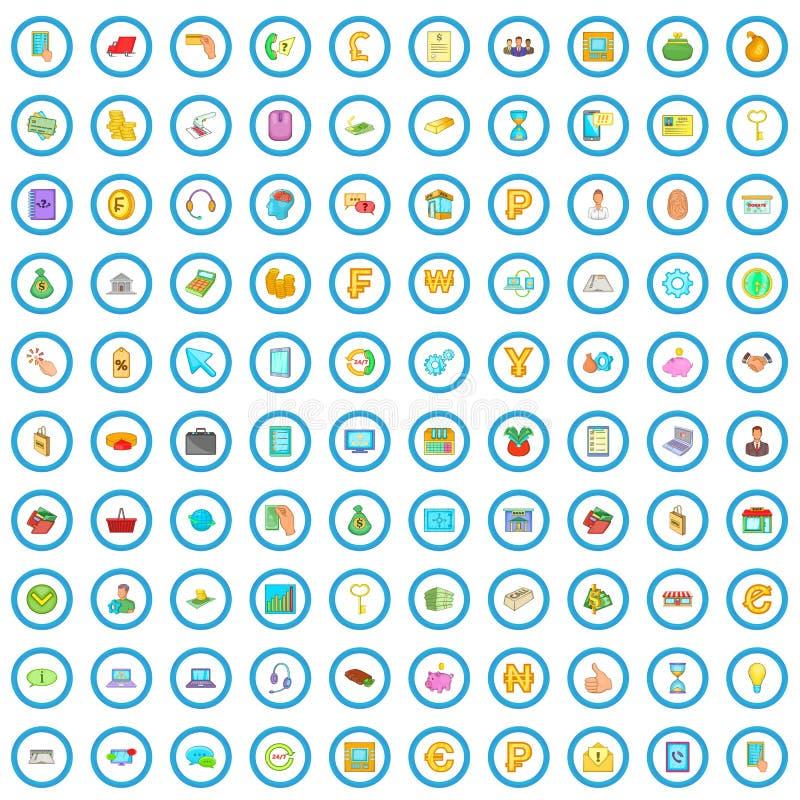 100 icone mobili messe, stile di attività bancarie del fumetto royalty illustrazione gratis