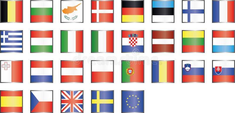 Icone moderne della bandiera di UE fotografia stock