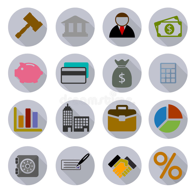 Icone moderne di affari messe illustrazione vettoriale