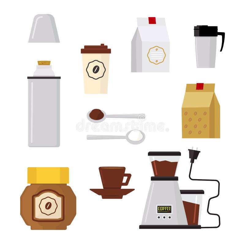 Icone moderne piane per la caffetteria Vettore illustrazione vettoriale
