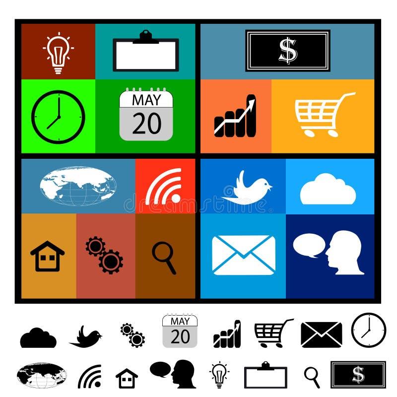 Icone moderne stabilite di web per il cellulare illustrazione di stock