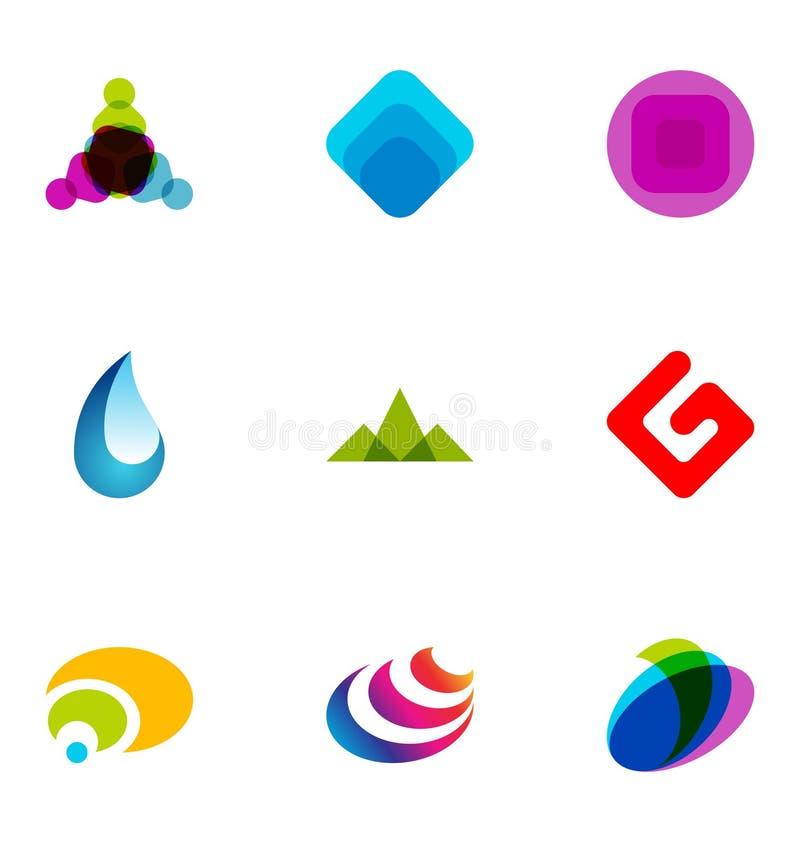 Icone moderne variopinte illustrazione di stock