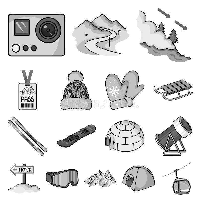 Icone monocromatiche dell'attrezzatura e della stazione sciistica nella raccolta dell'insieme per progettazione Azione di simbolo illustrazione di stock