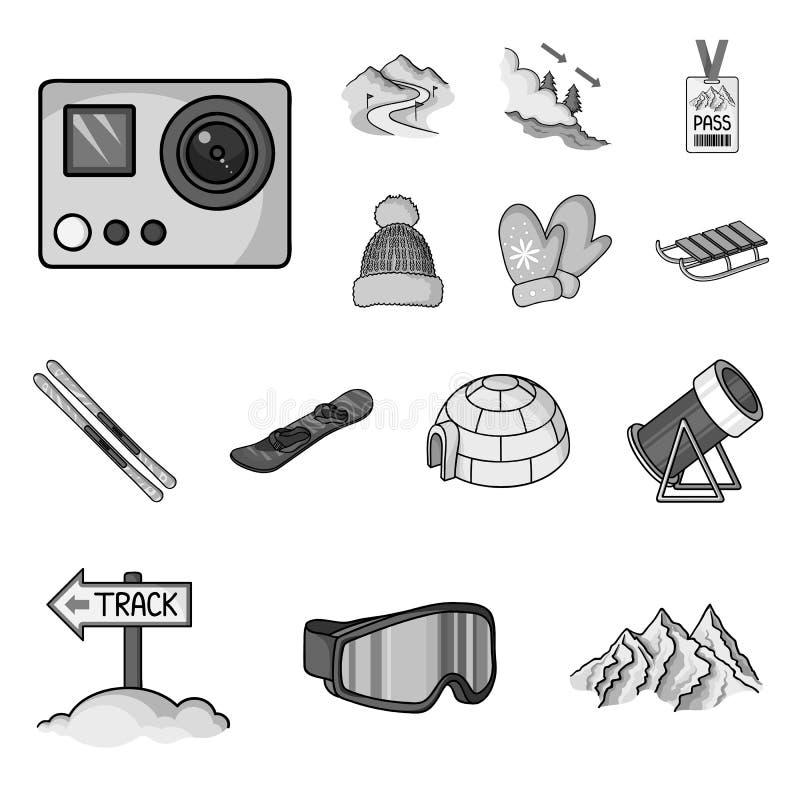 Icone monocromatiche dell'attrezzatura e della stazione sciistica nella raccolta dell'insieme per progettazione Azione di simbolo royalty illustrazione gratis