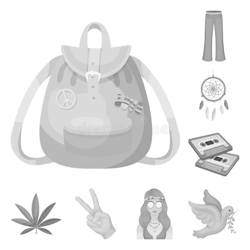 Icone monocromatiche di attributo e felici nella raccolta dell'insieme per progettazione Web degli accessori e felice di vettore  illustrazione vettoriale